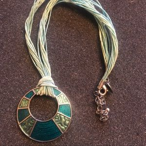 Lia Sophia Blue Teal Silver Necklace